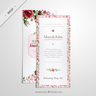 結婚式のための花の長いチラシ招待状