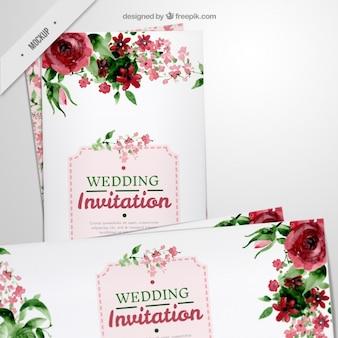 水彩画効果の結婚式のための花の長いチラシ