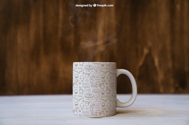 コーヒーマグで朝食モックアップ