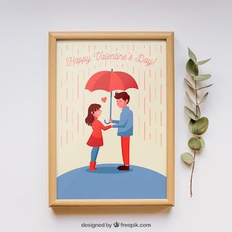 バレンタインフレームと要素モックアップ
