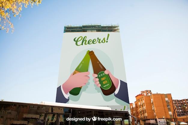 Макет рекламного щита на высоком здании