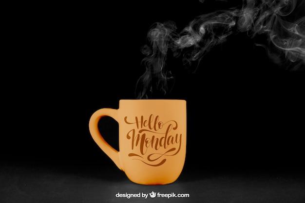 蒸気でコーヒーモックアップ