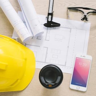 紙とスマートフォンモックアップによる建築構成