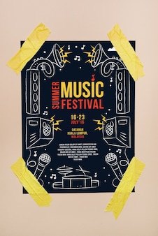 音楽祭のポスターモックアップ
