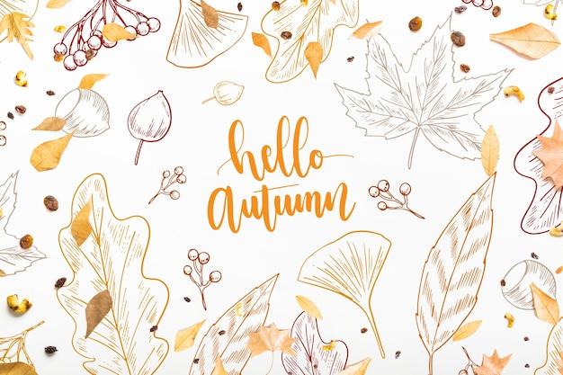 Осенний макет с листьями