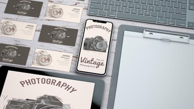 写真コンセプトの創造的な文房具モックアップ