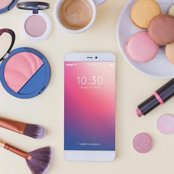 美容コンセプトのスマートフォンモックアップ