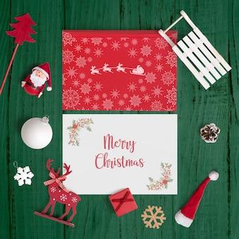 装飾的なクリスマスカードモックアップ