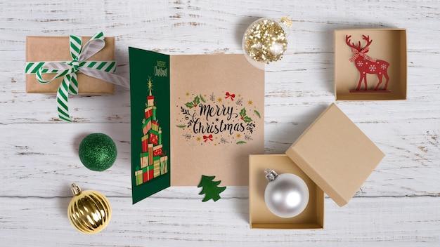 装飾的なクリスマスモックアップ