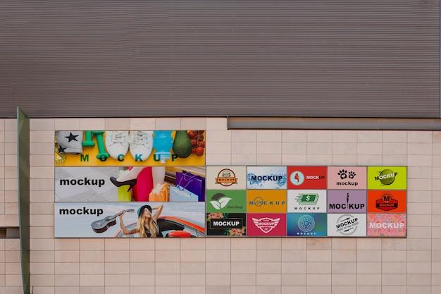 都市壁のビルボードモックアップ