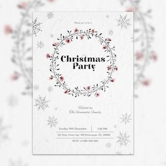 白いクリスマスパーティポスターの模型