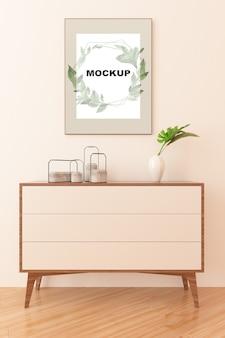 食器棚の上のフレームモックアップ