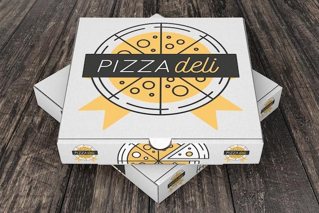 Сложенный макет коробки для пиццы