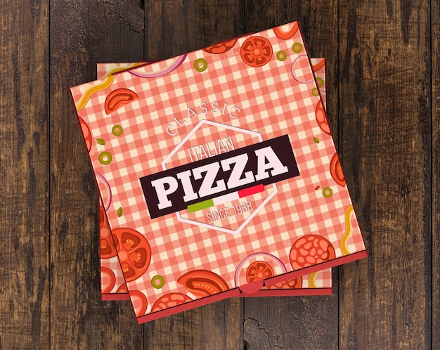 積み重ねられたピザ箱のモックアップ