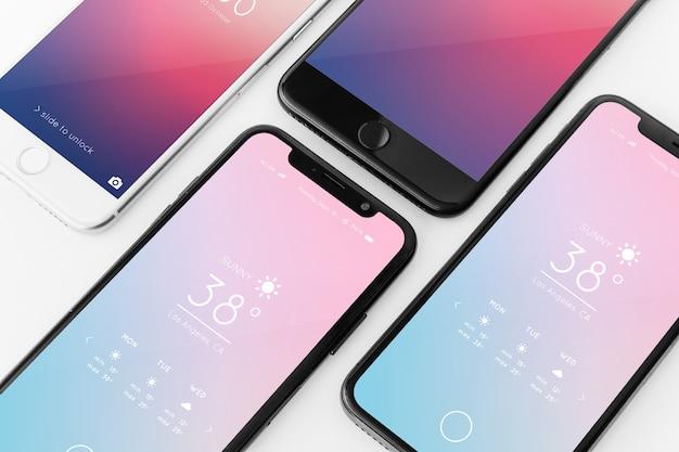 さまざまなスマートフォンのモックアップ