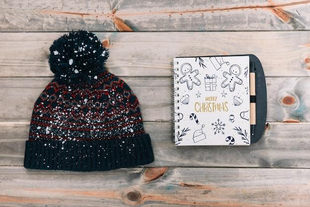 Макет обложки для ноутбука с концепцией рождества