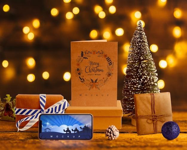 クリスマスコンセプトのシーンクリエーターモックアップ