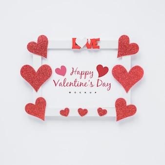 Рамка макет с сердечками