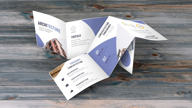 三つ折りビジネスパンフレットモックアップ