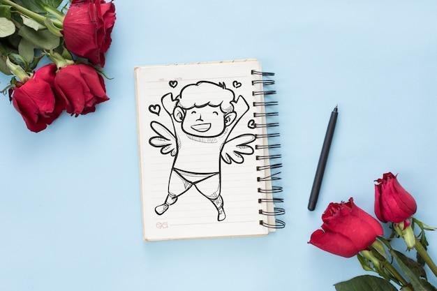 Блокнот макет с розами на день святого валентина
