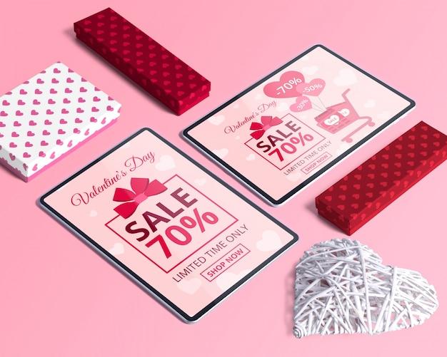 バレンタインデーのコンセプトを持つ編集可能な等尺性シーン作成者モックアップ
