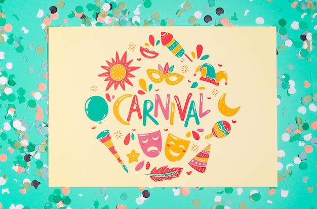 カーニバルの概念と紙のページモックアップ