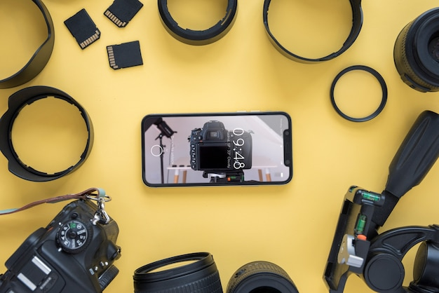 写真のコンセプトを持つスマートフォンモックアップ