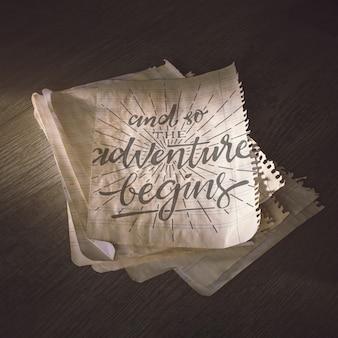 冒険の概念のための古い紙のモックアップ