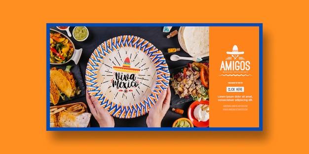 Еда баннеры макет с концепцией мексики