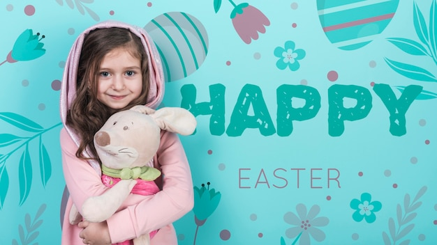 少女とウサギのイースターのモックアップ