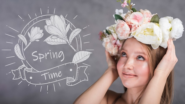スタイリッシュな女性と春のモックアップ