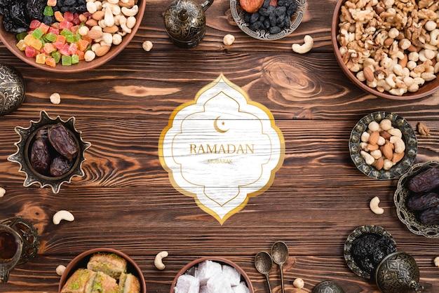 ラマダンの概念とロゴのモックアップ