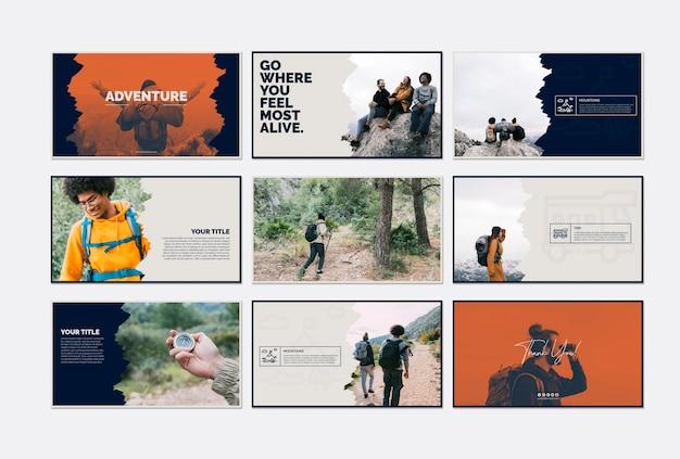 冒険の概念を持つカードテンプレートコレクション
