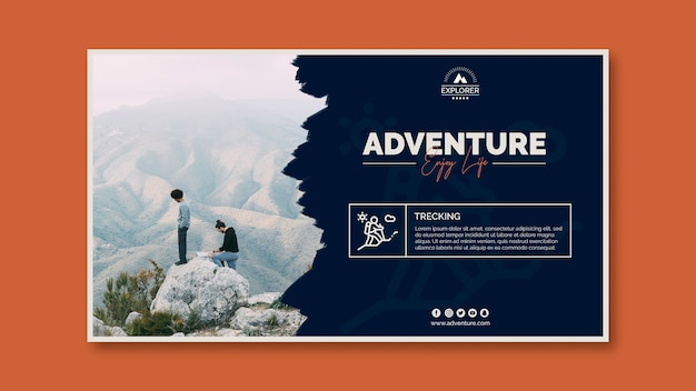 冒険の概念とバナーのテンプレート