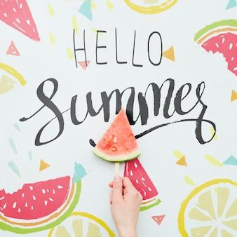 エキゾチックなフルーツとフラット横たわっていた夏の背景