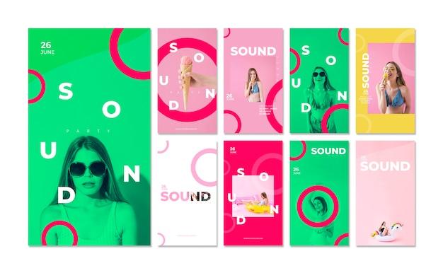 Истории из инстаграм для фестиваля звука