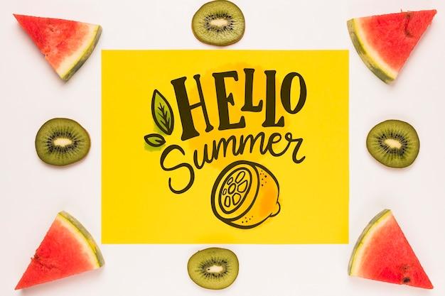 Плоский бумажный макет с летними фруктами