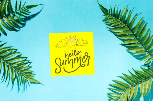 Плоский бумажный макет с летними элементами