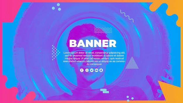Шаблон веб-баннера в стиле мемфис с летней концепцией