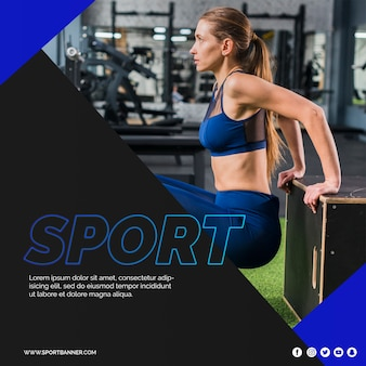 Квадратный пост шаблон с концепцией фитнес