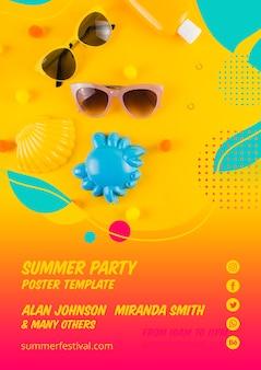 カラフルな夏のパーティーポスターテンプレート