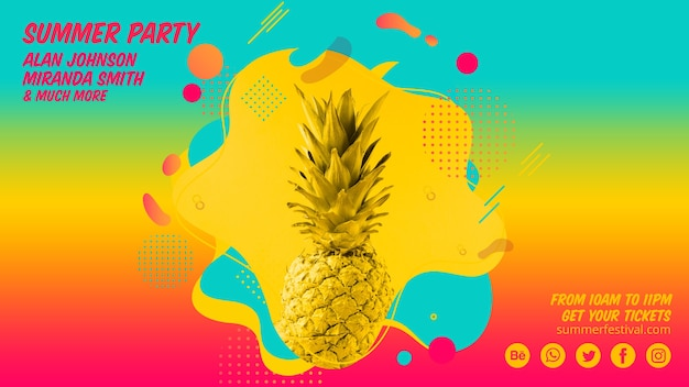 Красочная летняя вечеринка веб-баннер шаблон