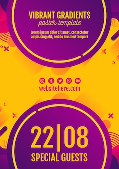 Музыкальный фестиваль желтый постер шаблон