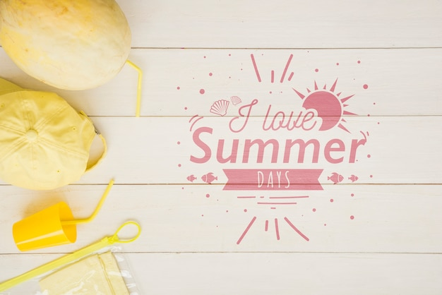 夏のフルーツとレタリングの背景