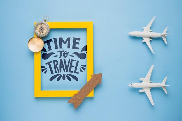 旅行する時間、休暇についてのやる気を起こさせるレタリング