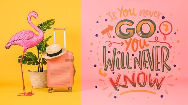 コンセプトを旅行の休日のためのやる気を起こさせるレタリング引用