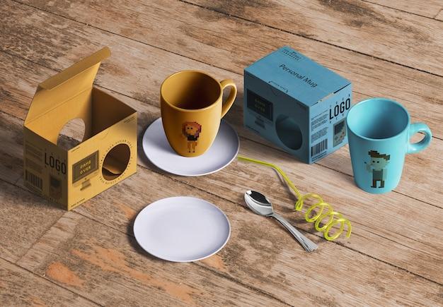 紅茶やコーヒー製品の包装モックアップ