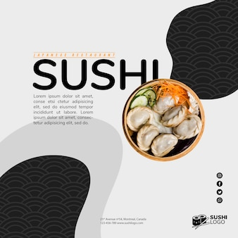 Азиатский суши-ресторан квадратный баннер шаблон