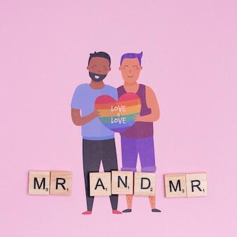 同性愛者のカップルとゲイプライドの背景