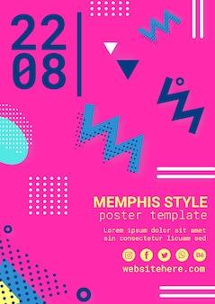 Плоский розовый постер в стиле мемфис